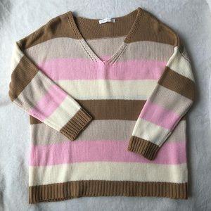 V neck striped sweater